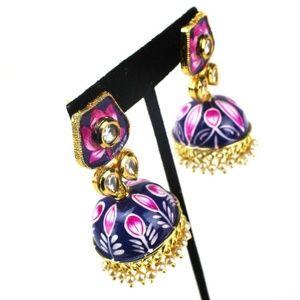 Floral Jhumki Kundan Handmade Earrings
